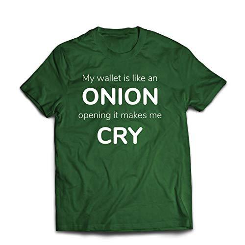 lepni.me Männer T-Shirt Meine Brieftasche ist wie eine Zwiebel, Kein Geld Lustiger Job, Büro-Humor (Large Dunkelgrün Mehrfarben)