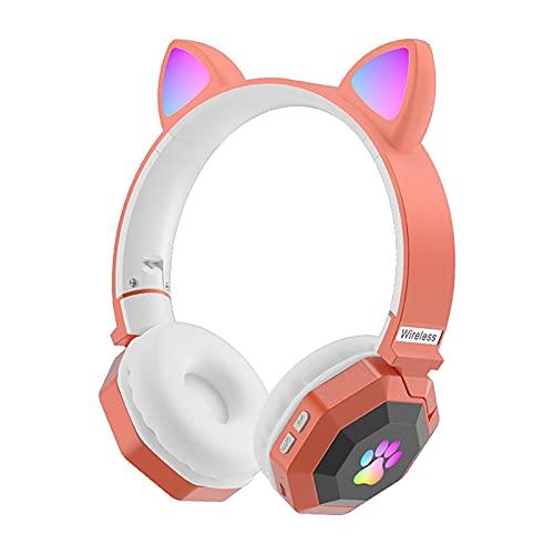 QOTSTEOS Auriculares inalámbricos para videojuegos, lindos auriculares para coche con luz LED Bluetooth 5.0 estéreo con micrófono integrado para teléfono portátil computadora (naranja)