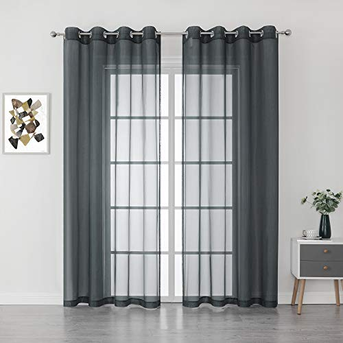 Patio Door Sheer Curtain Panels - Ceiling to Floor Extra Long Voile Drape Curtains Window Treatment for Sliding Glass Door (Grey, 2 Pieces, W 54 x L95 inches)