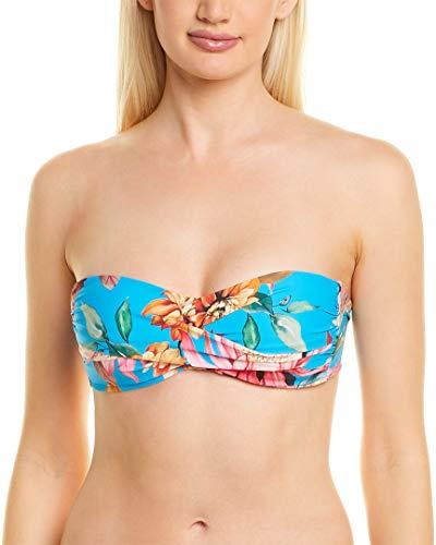La Blanca Women's Standard Bandeau Hipster Bikini Swimsuit Top, Poolside//Garden Social, 14