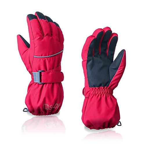 Schildeng Kinder Fünf Finger Reiten Skihandschuhe - Wasserdicht Winddicht rutschfeste Winter Warme Handschuhe, Outdoor Solid Color Reiten Skihandschuhe für Kinder