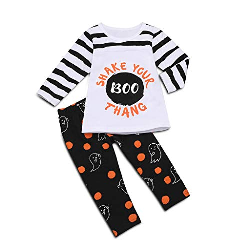 oldeagle Toddler Kids Baby Girl Long Sleeve Stripe Letter T-Shirt Pumpkin Pants 2PCs Halloween Costume Outfits Set (4-5 Years, White)