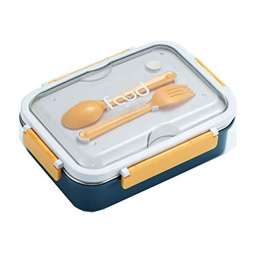 Cajas de Almuerzo para niños Caja de bento ecológica Caja de Almuerzo Caja de Almuerzo con Cuchara de Tenedor para lavavajillas y microondas, a Prueba de Fugas BPA-F Yellow and Blue