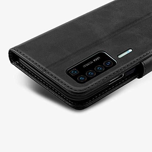 EASYCOB Hülle für Huawei P40 Pro Hülle, Premium Handyhülle Tasche Leder Flip Case Brieftasche Magnetischen Etui Schutzhülle für Huawei P40 Pro, Schwarz - 4