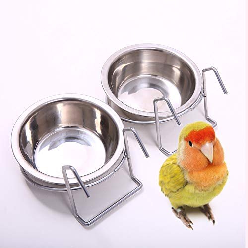 QBLEEV Birdcage Bird Feeder Birds Bowls for Cage Parakeet Food Dish Parrot Feeders Water Bowls Stainless Steel Dishes Coop Cups with Wire Hook for Small Animals Finches Lovebirds[2 Pack]