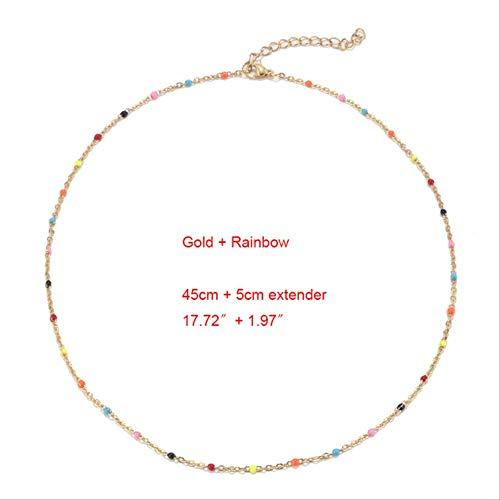 Collar BDCF de acero inoxidable, 1 gargantilla de oro y plata, esmalte satelital, cadena de bolas, gargantilla, collares para mujer, arcoíris dorado