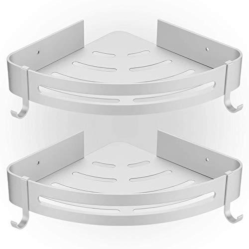 HBselect 2Pcs Duschablage ohne Bohren Duschregal Eckregal mit 2 Haken Aluminium Duschkorb rostfrei Wasserdicht Badezimmer Küche (silbrig)