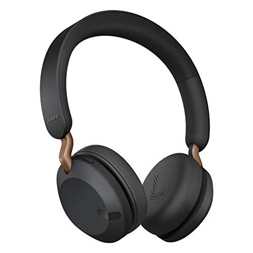 Jabra Elite 45h – Auriculares inalámbricos On-Ear compactos y Plegables – hasta 50 Horas de batería – tecnología de Llamadas a Dos micrófonos – Color Negro Cobre, Ajustable