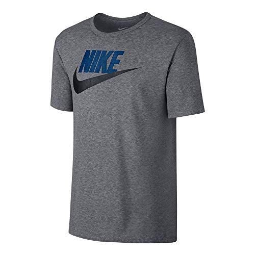 NIKE M NSW tee Icon Futura - Camiseta, Hombre, Multicolor(Carbon Heather/Navy)