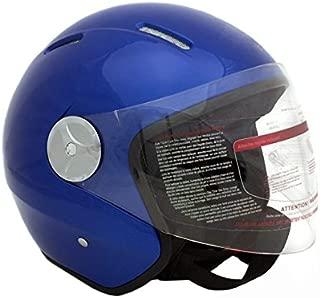 MMG 51 Motorcycle Scooter Pilot Open Face Helmet DOT, Blue, Medium