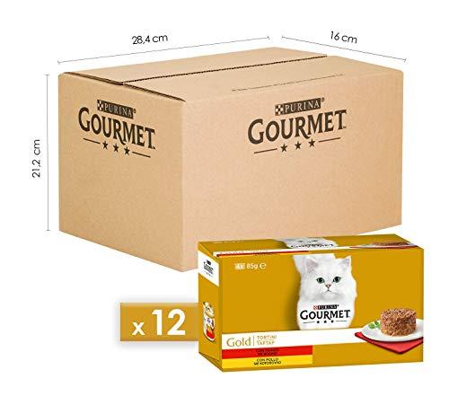 Purina Gourmet Gold Umido Gatto Tortini con Manzo, con Pollo, 48 Lattine da 85 g Ciascuna, 12 Confezioni da 4 x 85 g