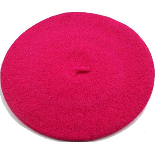 WAZHX Boinas De Invierno Sombrero Estilo Pintor Sombrero De Lana para Mujer Boinas Vintage Gorras De Color Sólido Capó Femenino Gorro Cálido para Caminar Rosa