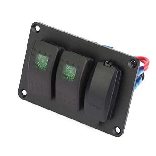 ATV 2 Panel de interruptor de luz individual con 45 pegatinas de patrón Interruptor basculante, Panel de interruptor de barco, para yates, motocicleta (azul)