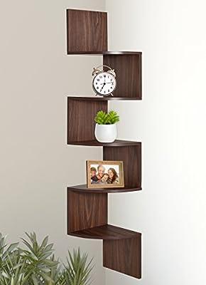 Greenco 5 Tier Wall Mount Corner Shelves Walnut Finish