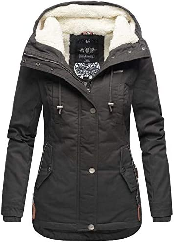 Marikoo Damen Winter Jacke Herbst Parka Kurz Mantel warm gef/üttert 7 Farben Army XS XXL Grinsekatze