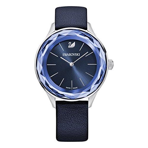 Swarovski Octea Nova Uhr, Lederarmband, blau, Edelstahl