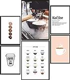 Papierschmiede® Premium Poster Set Kaffee | 6 Bilder als