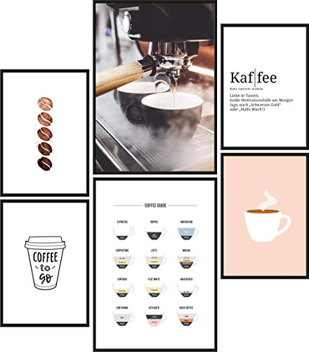 Papierschmiede® Premium Poster Set Kaffee | 6 Bilder als stilvolle Wanddeko | 2X DIN A4 und 4X DIN A5 | Küche Espresso Cappuccino