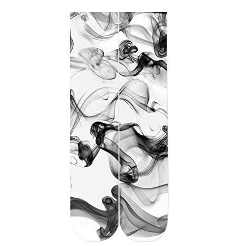 NANAYOUPIN sokken ademend 1 paar driedimensionaal rookpatroon 3D-print kousen 38 cm mannen en vrouwen vier seizoenen universeel katoen comfortabel casual persoonlijkheid S