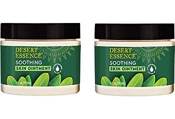 Desert Essence Tea Tree Oil Skin Ointment - 1 Fl Ounce - Pack of 2 - Jojoba & Lavender Essential Oils - Vitamin E - Sweet Almond Extract - Moisturizer For Dry Skin Skin Irritations Cuticles