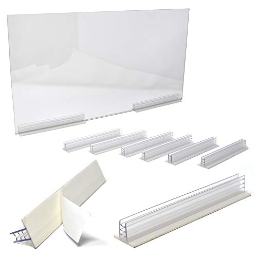 6' L Self Adhesive Sneeze Guard Holder to Fasten & Line Up Plexiglass Panels & Acrylic Sheets from 1/8' to 1/4' Thick, 5 Pack