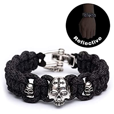 Kayder High Visibility Reflective Paracord Bracelet with Vintage Silver Skull Beads and Adjustable D Shackle, Handwoven Reflectors Bands Safety Reflective Outdoor Gear for Night Activity, Unisex