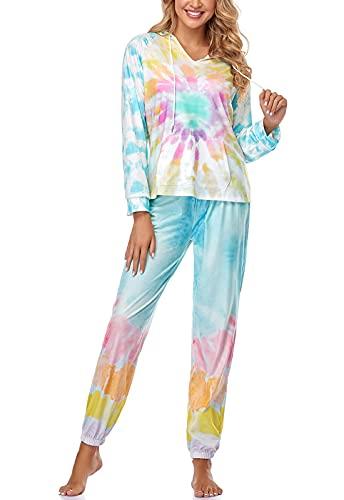 Topee Women's Sleepwear Tie Dye Long Sleeve Hoodie and Pants Pajamas Set Nightwear Multicolor S