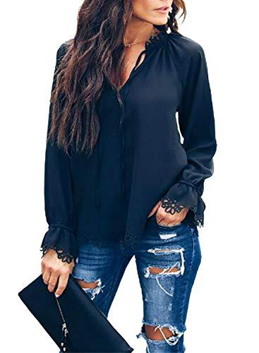 FIYOTE Damen Casual V-Ausschnitt Solide Spitze Cut Out Langarm Shirt Bluse Gr. Large,...