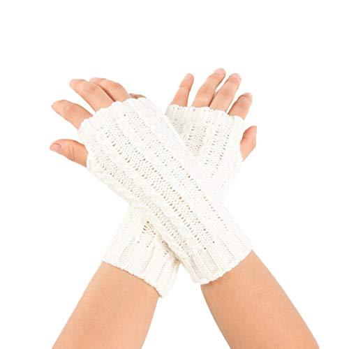 OSYARD Damen Wollhandschuhe Handschuhe Kurz-Stulpen Winterhandschuhe Strickhandschuhe Pulswärmer Armstulpen, Frauen Winter Armwärmer Gestrickte Kurze Fingerlose Handschuhe Fäustling