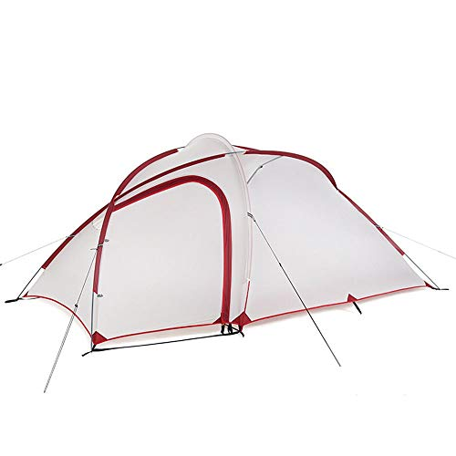 ZoSiP Outdoor Camp Folding Tent Outdoor 2-3 Person One Room One Hall Outdoor Camping Camping Rainproof Double Tent (Color : White, Size : 375X216X152cm)