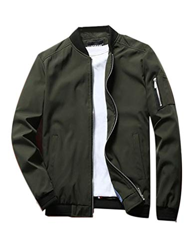 Lavnis Men's Flight Bomber Jacket Lightweight Softshell Coat Sportwear Zipper Windbreaker Green L