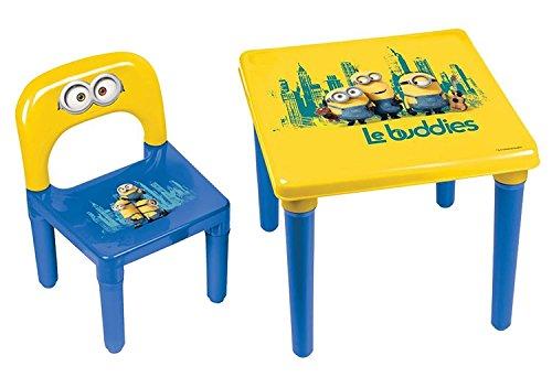 Minions Meine Kinder-Tisch und Stuhl/Offizieller Vorschulkinder Schreibtisch und Stuhl, Alter 3+, Bob/Kevin/Stuart 'Le buddies' Kindermöbel-Set, Starker Kunststoff Made in France Gelb/Blau