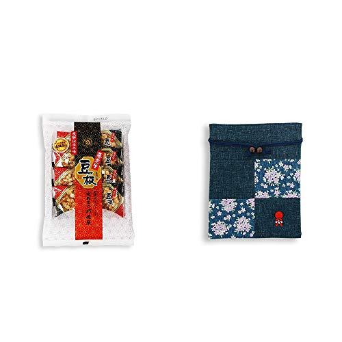 [2点セット] 飛騨銘菓「打保屋」の駄菓子 豆板(8枚入) ・おねがいさるぼぼ 巾着【紺】