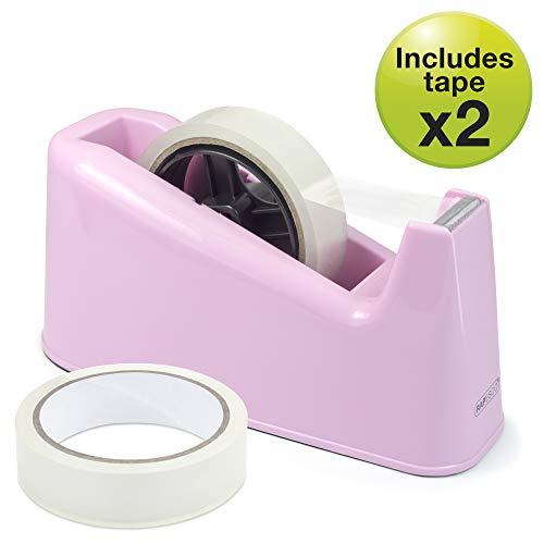 Rapesco Accesorios - Dispensador de cinta adhesiva grande mas 2 rollos, color rosa