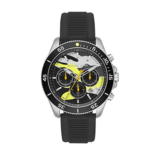 Michael Kors Men's Theroux Stainless Steel Quartz Watch with Silicone Strap, Black, 22 (Model: MK8709)