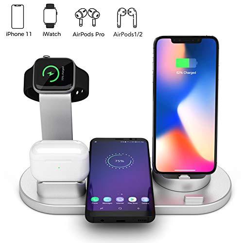 Station Voor Draadloze Oplader,4 in 1 Qi Fast Wireless Charging Dock Compatibel met Samsung iPhone,Draadloze Oplader Compatibel met AirPods Pro Watch iWatch 1 2 3 4 38 mm 40 mm 42 mm 44 mm (Zilver)