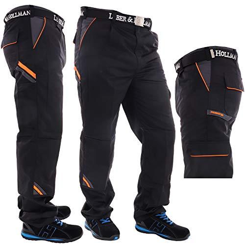 Robuste Profi Arbeitshose für Männer in schwarz/grau/orange, Lange Herren Bundhose mit Kniepolster Taschen und Schlaufe Schutzkleidung (Größe 56)