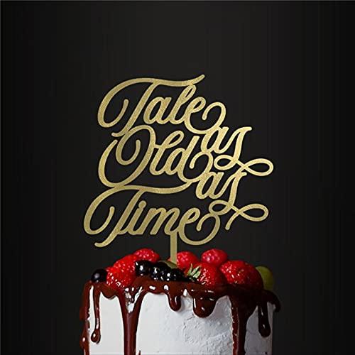 Decoración para tartas de boda, acrílico, decoración para tartas de aniversario, fiestas, cuentos como viejo como el tiempo, 20 aniversario