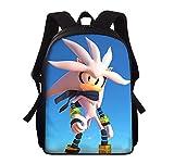 Mochila Sonic Mochila escolar con estampado de Anime Sonic, mochila para niñas, mochila para niños, mochila para niños, mochilas de escuela primaria para patrón personalizado, 3 unids / set