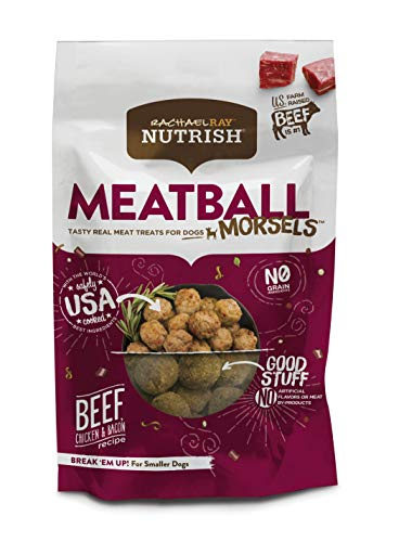Rachael Ray Nutrish Meatball Morsels Real Meat Dog Treats, Beef, Chicken & Bacon Recipe, 12 Ounces,...
