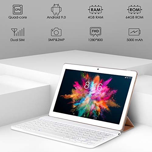 Tablet Touchscreen 10 Zoll (25,4 cm) 4G LTE WiFi BEISTA-Android 9.0, Octa-Core-Prozessor, 4 GB RAM 64 GB Speicher, Gehäuse aus Metall