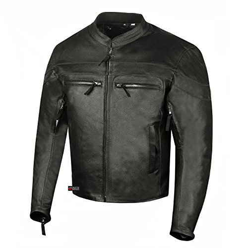 Men Throttle Classic Leather Motorcycle Street Cruiser CE Armor Biker Jacket L