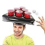 Chapeaux gonflables de support de tasse, anneau gonflable de chapeau de boisson de bière jetant le jeu de partie d'anneau jetant le support boissons gonflables, Pong tasses chapeau adulte (2pcs)