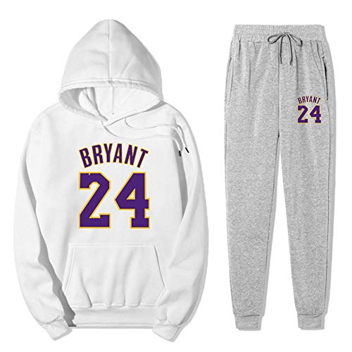 Anoauit Herren Sets Langarm Sportanzug Lakers Kobe # 24 Herren Jungen Kontrast Trainingsanzug Trainingsanzug Schulanzug Hoodie & Bottom Jogginganzug-Groß
