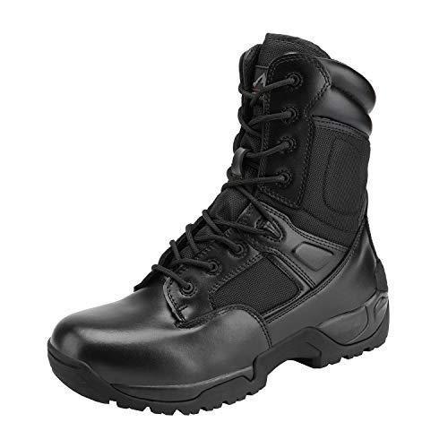 NORTIV 8 Botines Militares tácticos de Trabajo para Hombre, Botas de Senderismo, Motocicleta y Combate, Negro, 15 US
