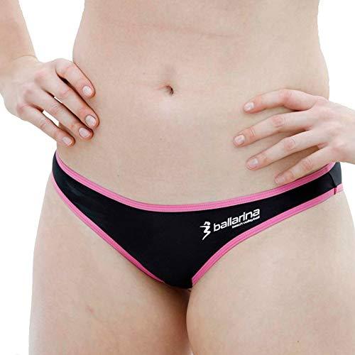 ballarina Beachvolleyball Bikini-Hose Sandpant Low, schwarz-Fuchsia (L)