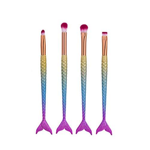 Fanxp® 4Pcs / Set Mermaid Eyes Makeup Brushes Kit Eyeshadow Eyebrow Eyeliner Lip Brush, Gradient Color Mermaid Makeup Brush Set