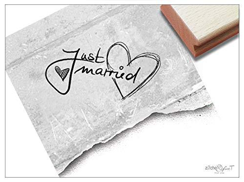 Stempel - Hochzeitsstempel JUST Married - Textstempel Schriftstempel Geschenk Hochzeit Karten Heiratsanzeige Danksagung Deko - zAcheR-fineT (klein ca. 24 x 37 mm)