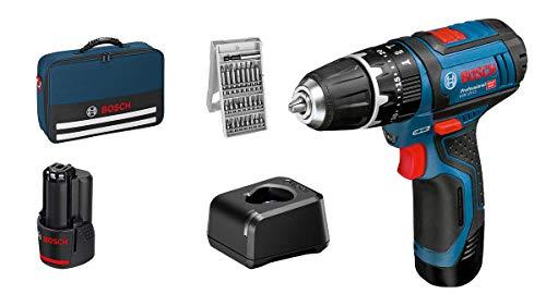 Bosch Professional 12V System GSB 12V-15 - Taladro percutor a batería (30 Nm, 1300 rpm, set 25 accesorios, 2 baterías x 2.0Ah, en maletín de lona)