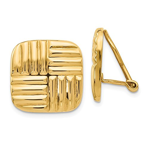 14k Yellow Gold Non Pierced Clip On Basket Weave Earrings Ball Button Fine Jewellery For Women Gifts For Her